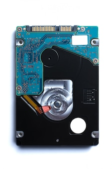 Hard disk drive on a white wall