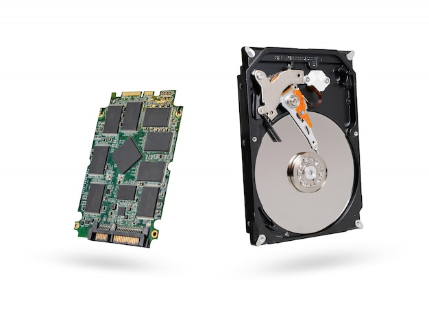 Hard diskand ssd  solid state  drive with sata 6gb isolated on white background with clipping path