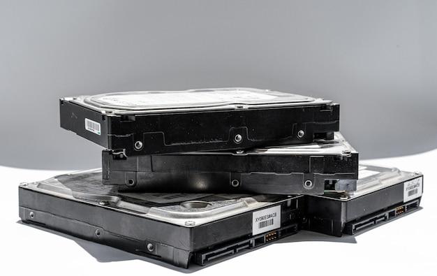 Hard disks on white