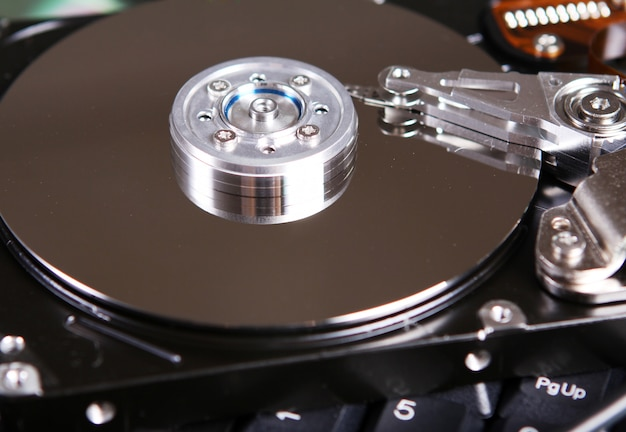 Hard drive disc close up