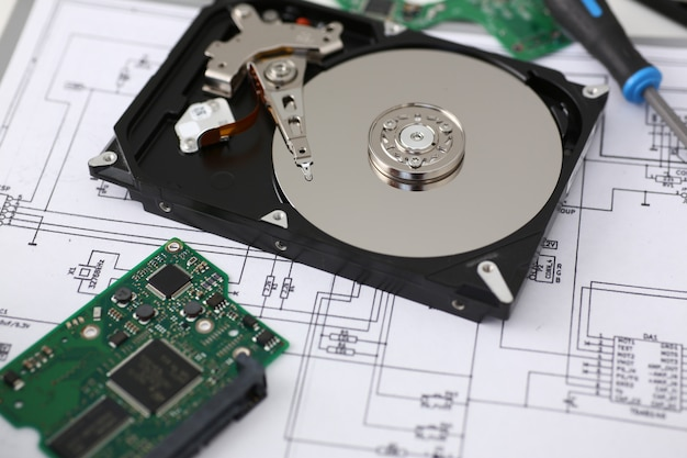 Hard drive from computer or laptop lies