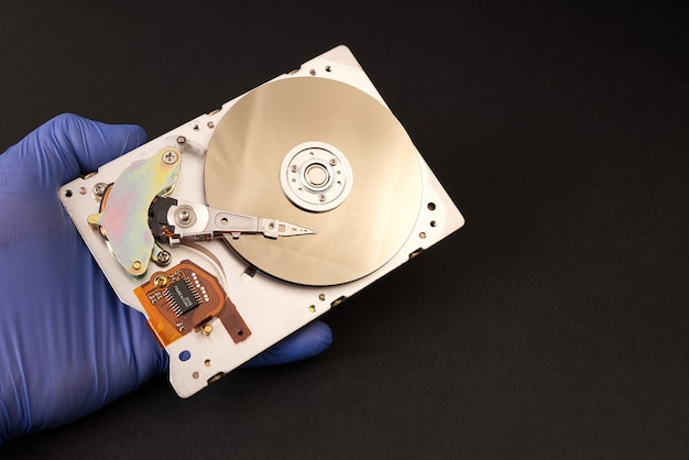 Hard drive in the hands of the master.