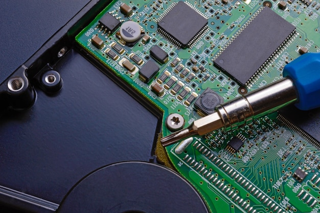 Hard drive and screwdriver