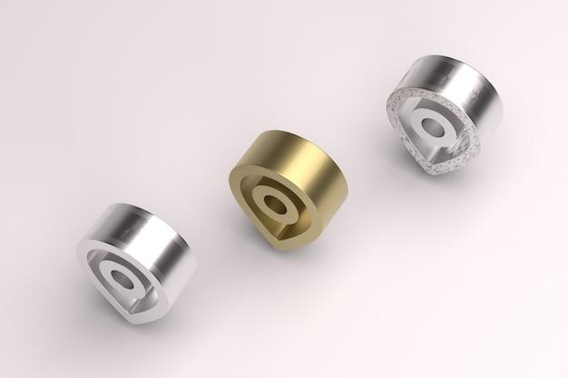 金と銀の効果のあるハードエッジ位置3dレンダリング画像