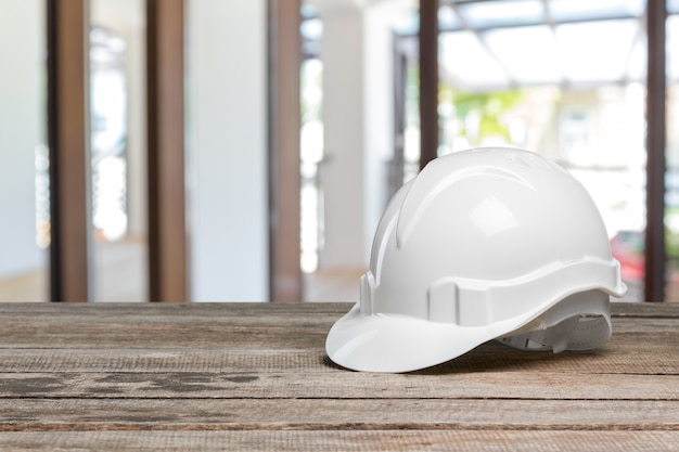 Hard hat on a table