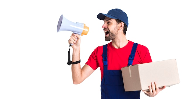 Hard worker courier man shouting into megaphone