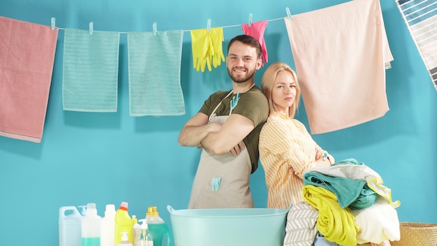 Hard-working couple is ready to help you with laundry. laundry service