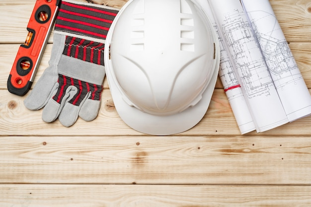 Hardhat, 장갑 및 건축업자의 청사진