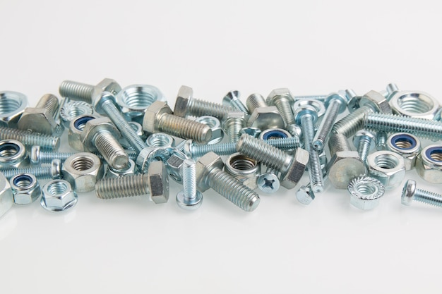 Hardware, bolts, screws and nuts close-up