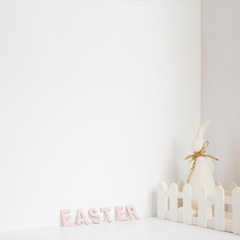 Hare in fence and easter word