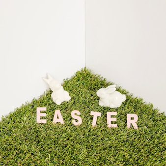 Hare figurines and easter word