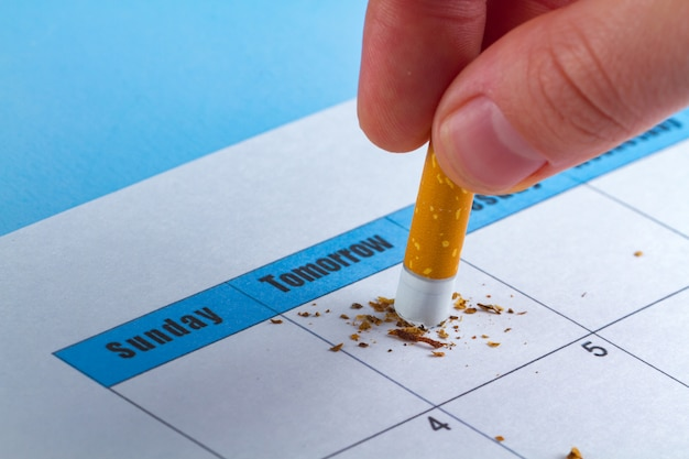 Harm to smoking. motivational concept. trying to quit smoking