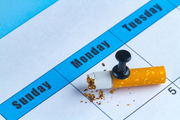 Harm to smoking. stop smoking concept. trying to quit smoking from tomorrow