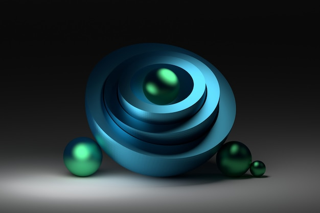 Harmonious composition with half spheres and shiny blue balls