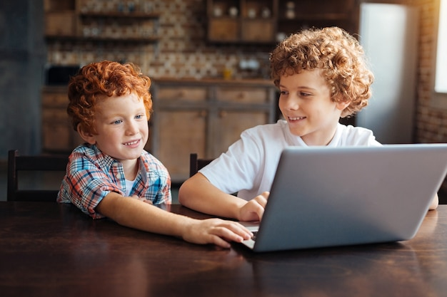 Harmonious relations. mindful older boy looking at his little brother reaching the keyboard of his computer while both sitting in the kitchen