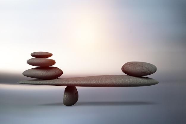 グラデーションの背景にハーモニー禅のような石のバランスの調和の概念