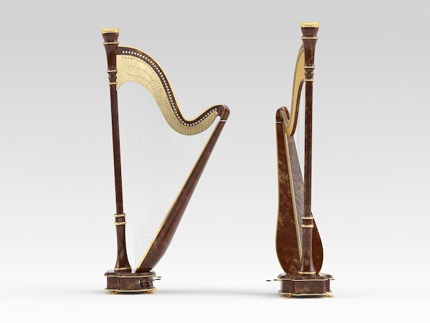Harp aged isolated on white