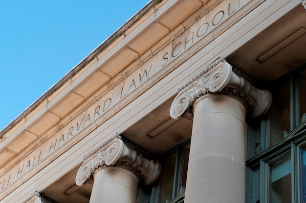 Harvard university ilaw school building in boston, massachusetts, usa