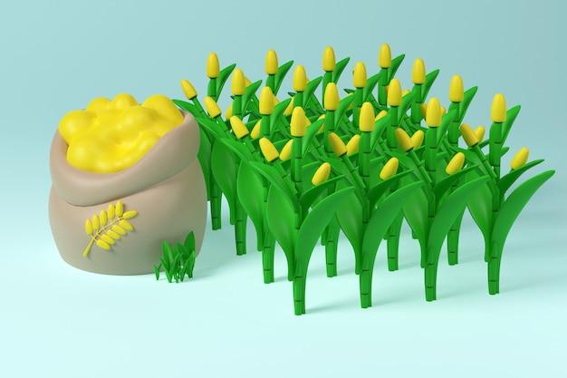 収穫畑-小穂と小麦の袋。 3dイラスト