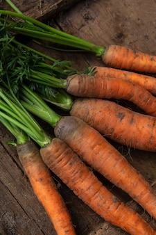 상판과 함께 신선한 어린 당근을 수확하십시오. 건강에 좋은 음식과 비타민. 확대. 수직의.