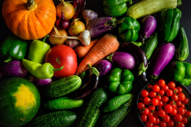 Harvest or thanksgiving background with vegetables