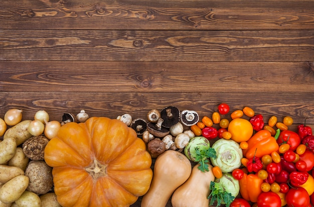 Harvest on wooden table background