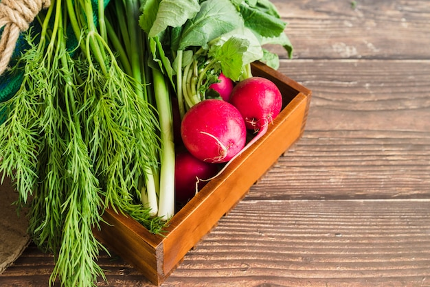 Harvested scallions; dill and red turnip in the wooden tray against wooden backdrop