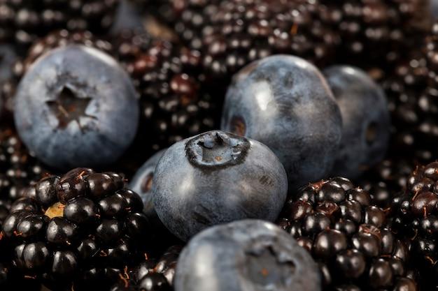 ブルーベリーとブラックベリーと一緒に収穫された野生のブラックベリー新鮮なブラックベリー