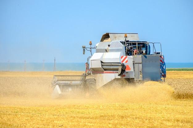 수확기가 밀을 깎는다