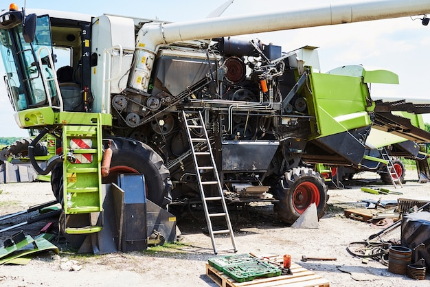 Harvesters and combine parts at the plant are waiting for sales