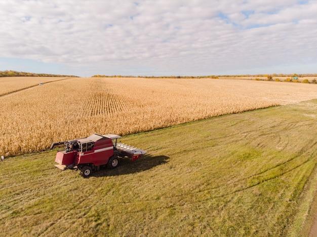 Сбор кукурузы осенью на фоне линии горизонта, съемка с воздуха