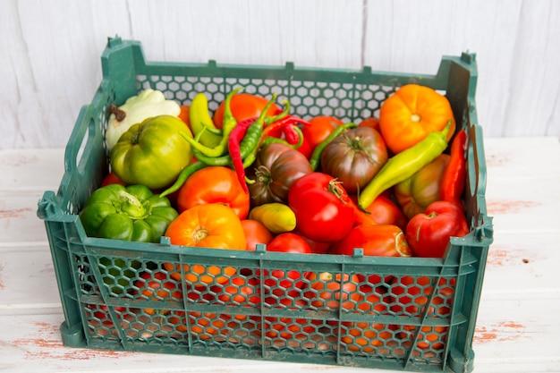 Сбор овощей. корзина с продуктами из сада.