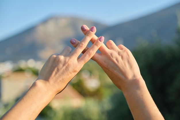 Hashtag abstract symbol shown by fingers, technology and nature concept