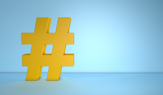 Hashtag on blue background with copy space
