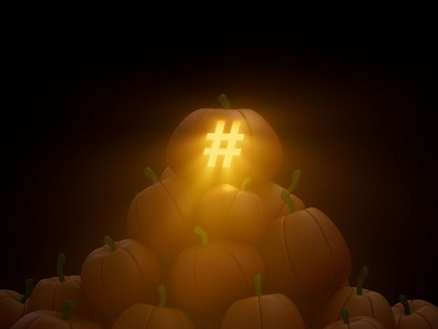 해시태그 새겨진 호박 스택 더미 암호화 통화 3d 그림 렌더링 어두운 조명