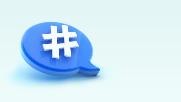Hashtag icon on chat bubble 3d rendering. social media messages, sms, comments.