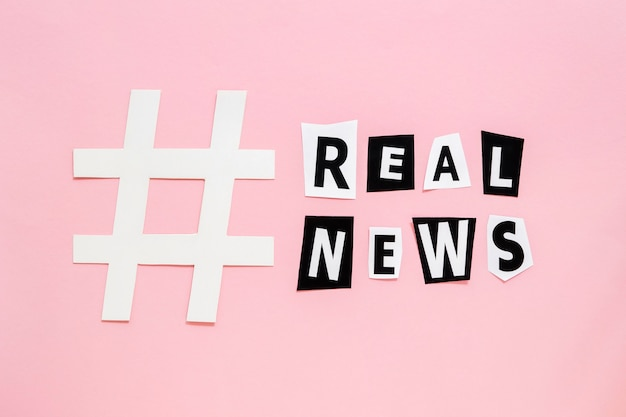 Hashtag sharp symbol for fake news