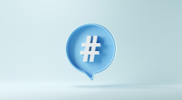 Hashtag sign symbol in social media notification icon on blue background.