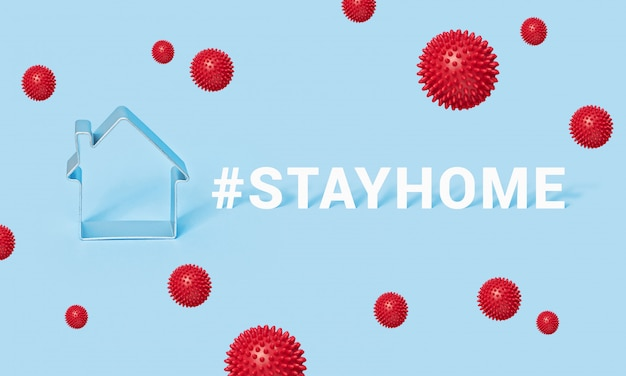 Hashtag stay home with house on blue background, motivation banner covid-19