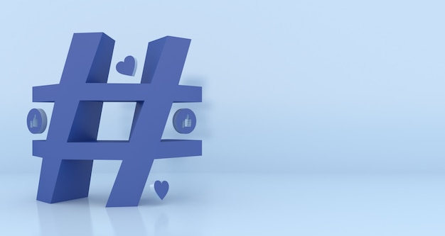 Hashtag symbol 3d rendering with copy space