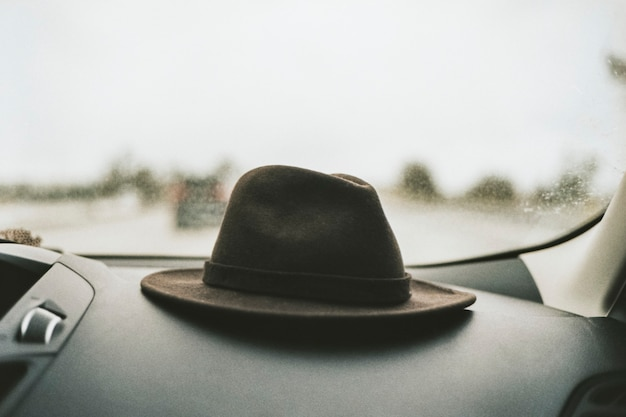 Hat on the dashboard of a car