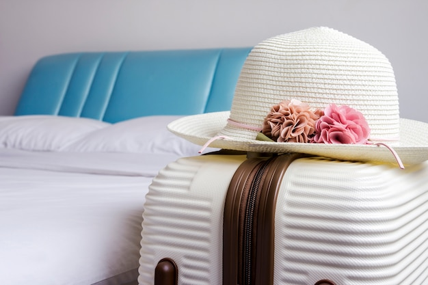Hat on luggage in the bedroom