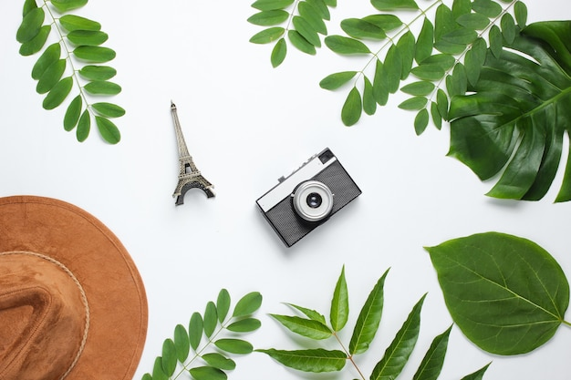 Hat, retro camera, figurine of the eiffel tower on white background with green leaves.