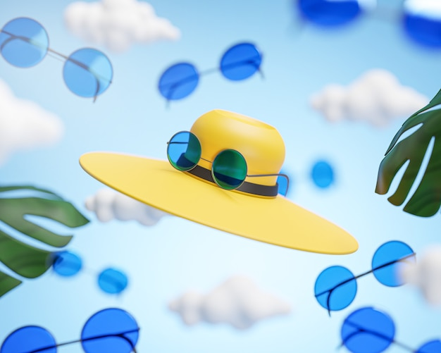 Hat and sunglasses flying on cloud sky traveling concept background 3d rendering