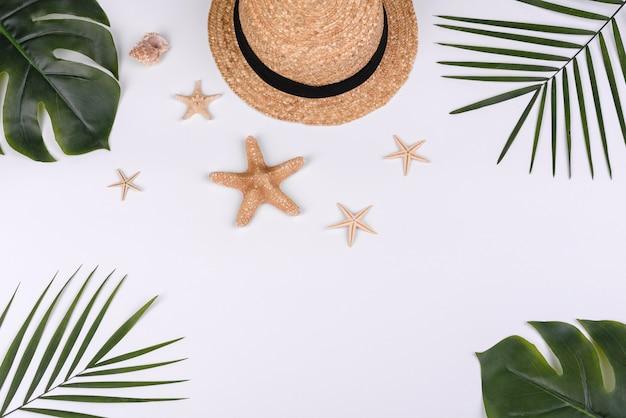 껍질과 흰색 바탕에 바다 별 모자. 여름 배경