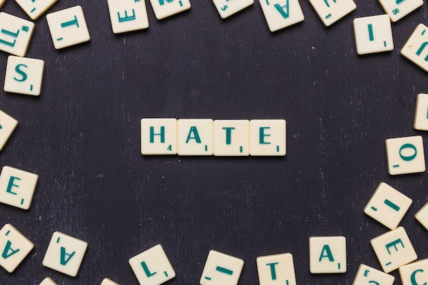 Hate text made from scrabble game letters
