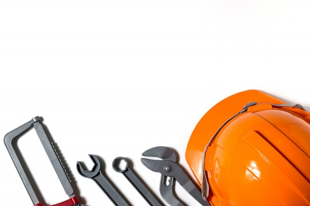 Hats, engineers and technicians are tools and are used in financial planning,copy space.