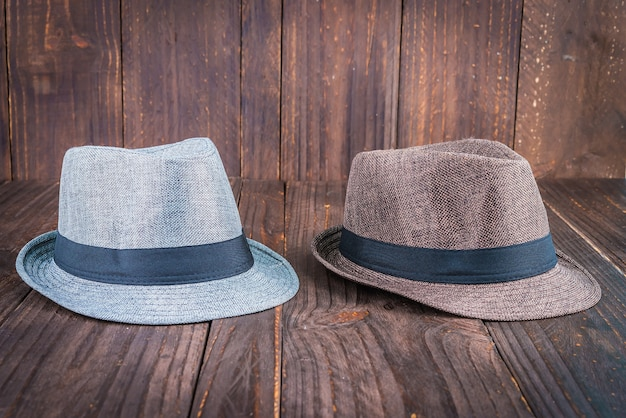 Hats on a wooden table