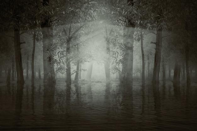 Призрачный лес с озером и солнечным светом