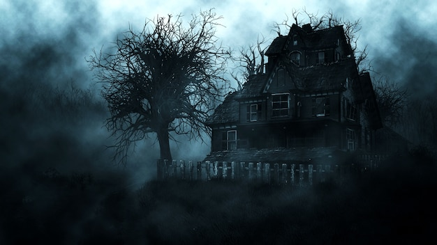 Haunted house in creepy night forest
